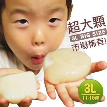 【築地一番鮮】稀有巨無霸日本生食3L干貝1kg禮盒(約11-15顆/盒)免運組