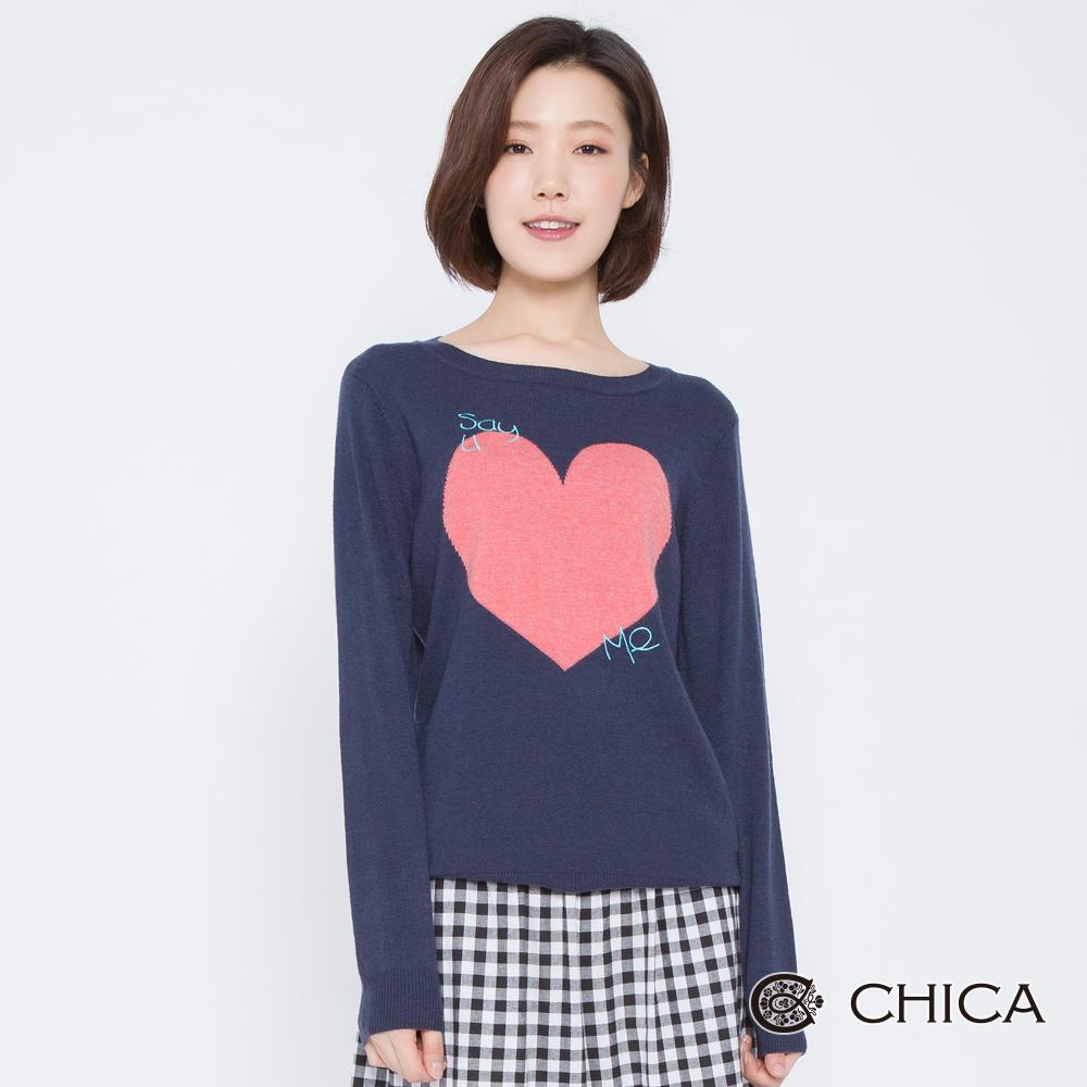 CHICA 甜心詩人字母刺繡愛心針織衫(2色)