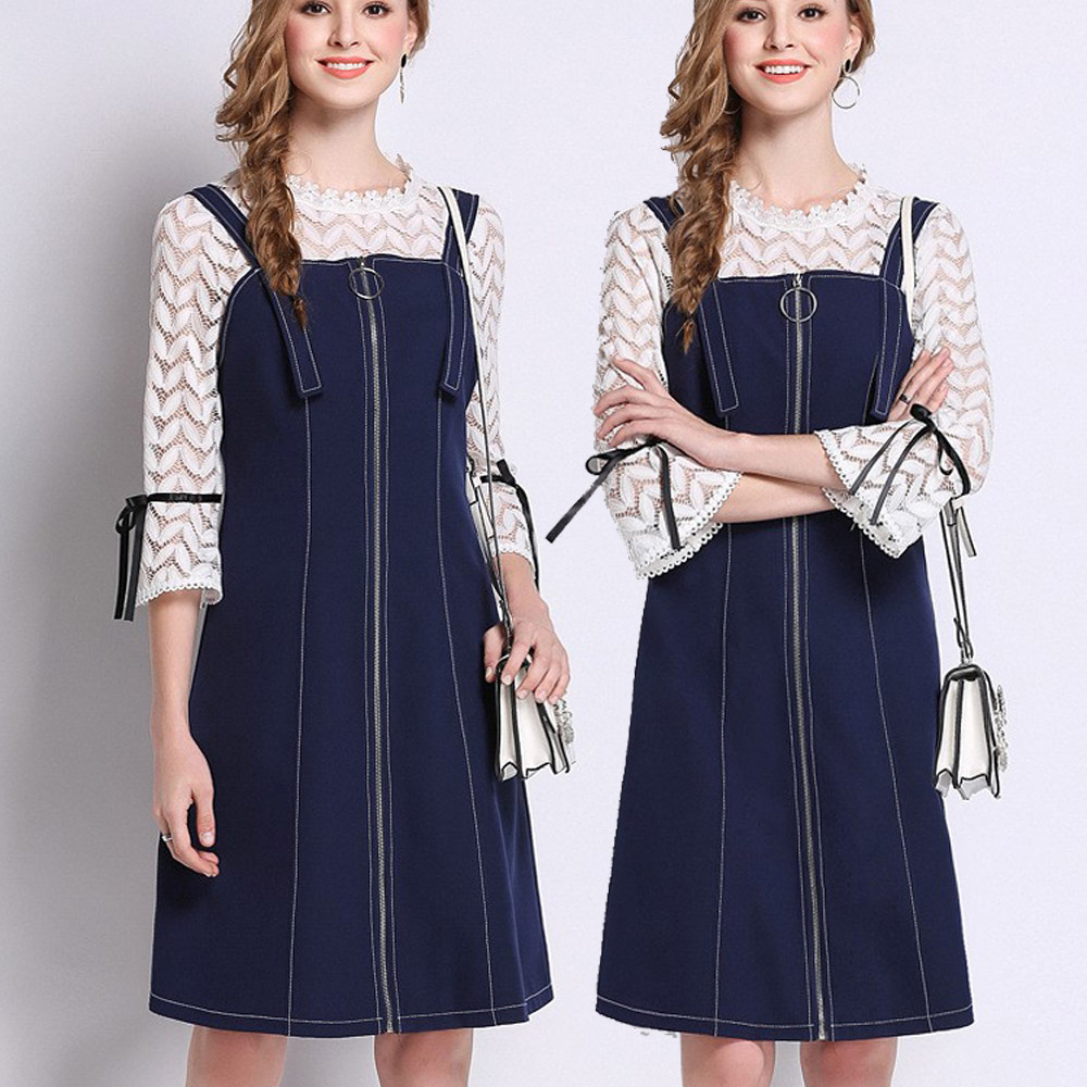 麗質達人(L-5XL)蕾絲上衣+藍色吊帶洋裝6731
