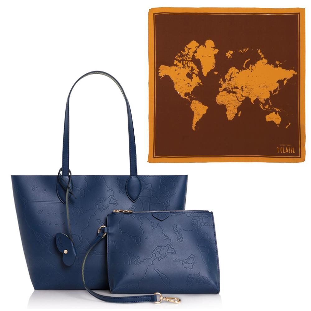 【Alviero Martini 義大利地圖包】 經典地圖撞色絲巾+真皮肩背購物包(中)-深藍