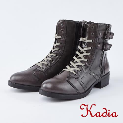 kadia.街頭率性魅力雙扣綁帶中筒軍靴(8702-81咖啡色)