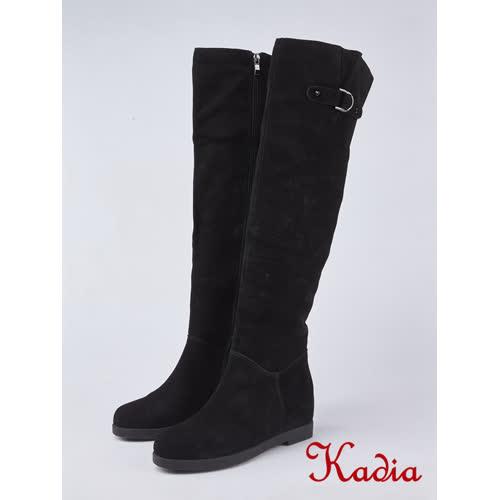 kadia.造型飾釦內增高過膝長靴(8853-93黑色)