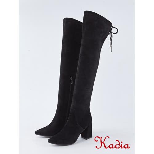 kadia.綁帶彈力麂布粗跟過膝長靴(8855-93黑色)