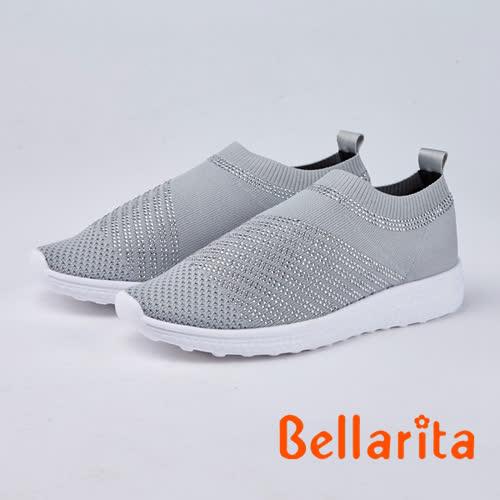 bellarita.時尚風 閃閃魅力燙鑽休閒鞋(8959-85灰色)