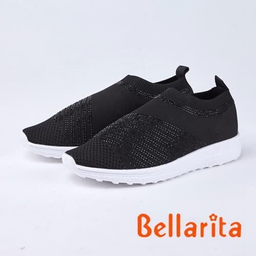 bellarita.時尚風 閃閃魅力燙鑽休閒鞋(8959-95黑色)