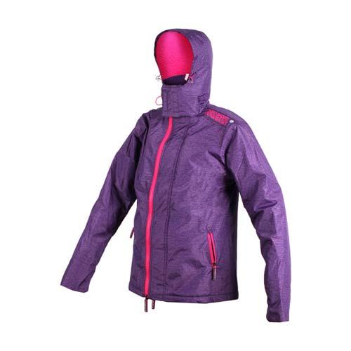 (女) SOFO 花紗紫厚外套-保暖 防風 連帽外套 紫桃紅