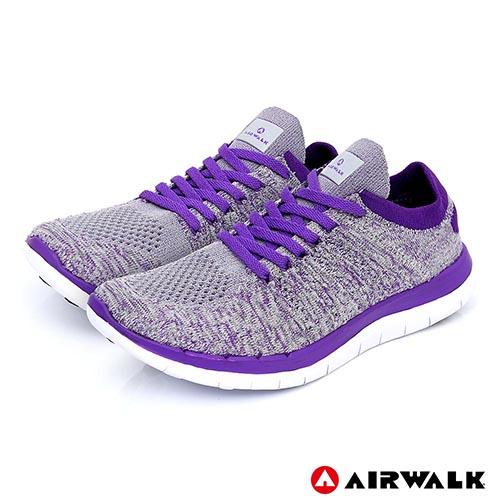 AIRWALK(女)- 城市運動系列 輕量透氣編織慢跑鞋 - 灰紫色