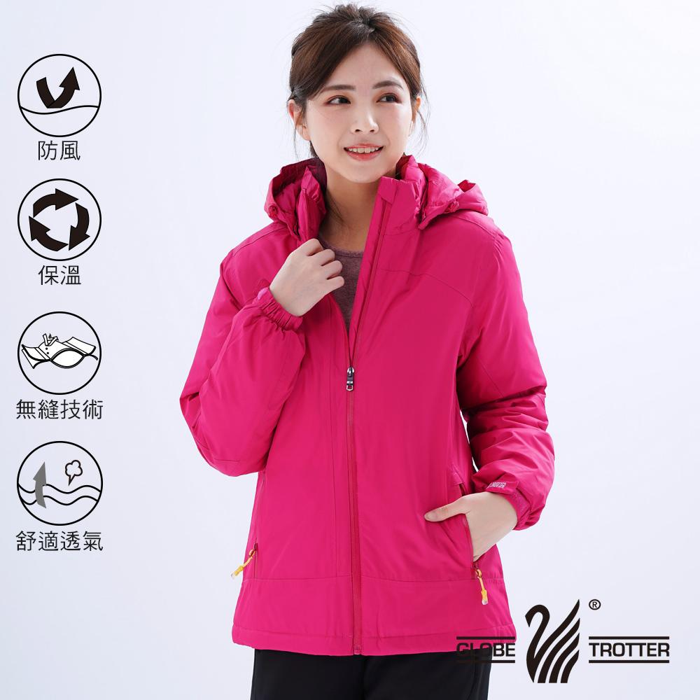 【遊遍天下】女款防風透濕保暖無車縫羽絨機能外套22006玫紅