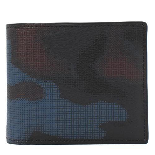 COACH 經典LOGO 迷彩PVC附活動夾中短夾.藍黑