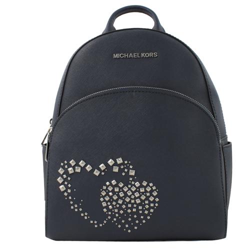 MICHAEL KORS ABBEY 新款心型鉚釘防刮皮革後背包.軍藍