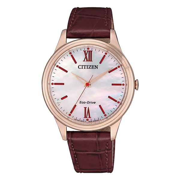 CITIZEN 光動能晶彩貝殼面皮革腕錶-紅-EM0413-17D