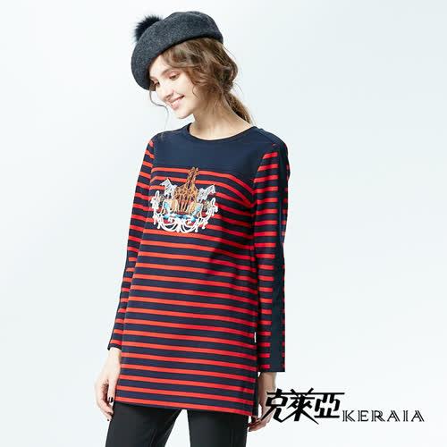 【KERAIA 克萊亞】動物樂園條紋長版上衣