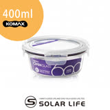 韓國KOMAX耐熱玻璃保鮮盒-圓型400ml.可微波蒸鍋烤箱露營野餐圓形飯盒廚房食物醃漬密封罐樂扣蓋便當盒