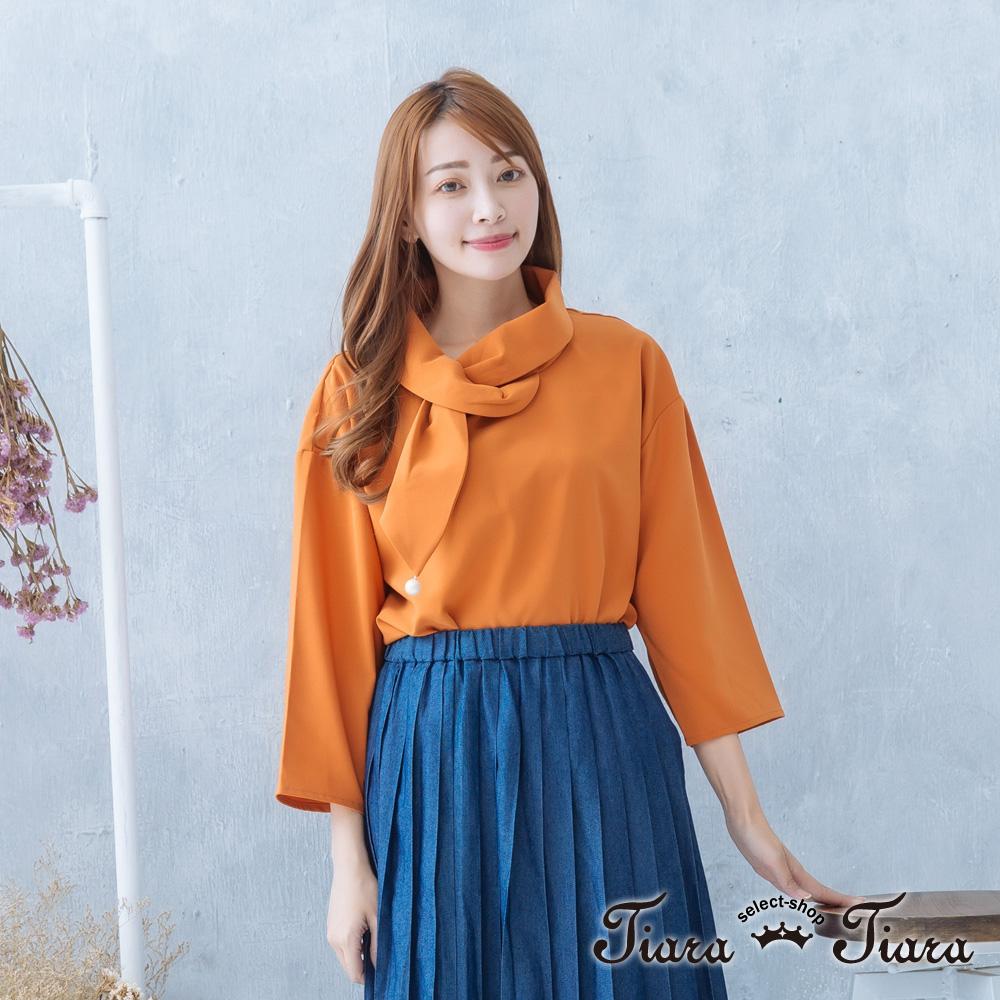 【Tiara Tiara】激安 連衣領巾寬肩雪紡長袖上衣(淺綠/橘紅)