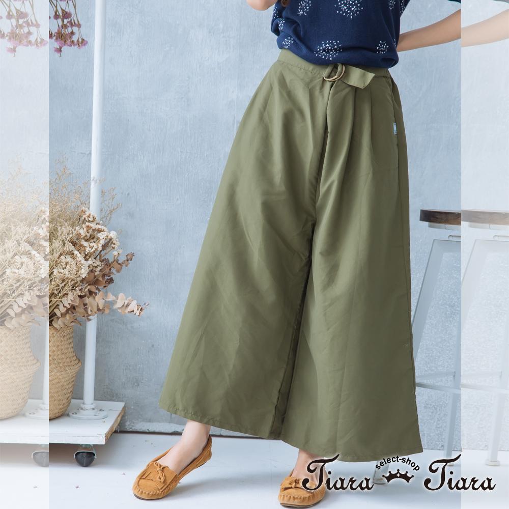 【Tiara Tiara】激安 腰綁帶單色長寬褲(綠/卡其)