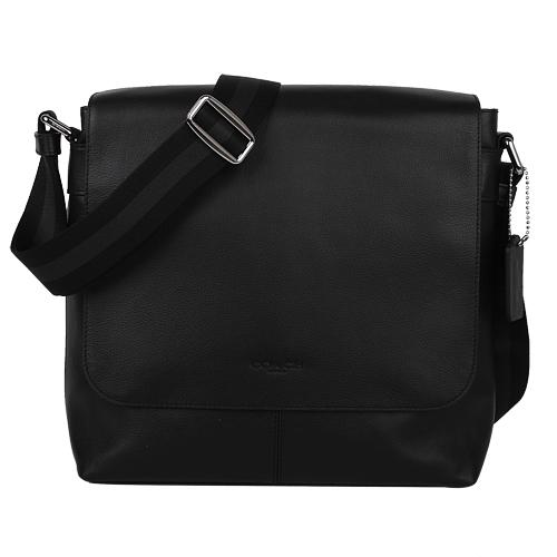 COACH- 壓印LOGO皮革掀蓋磁扣斜背包(黑)