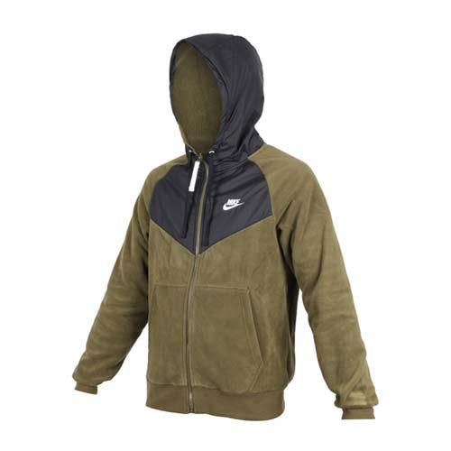 (男) NIKE 刷毛外套-保暖 慢跑 連帽外套 軍綠黑
