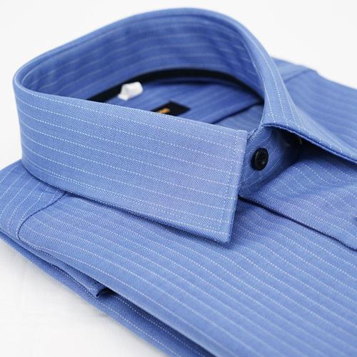 【金安德森】藍色白條紋黑內領黑扣窄版長袖襯衫