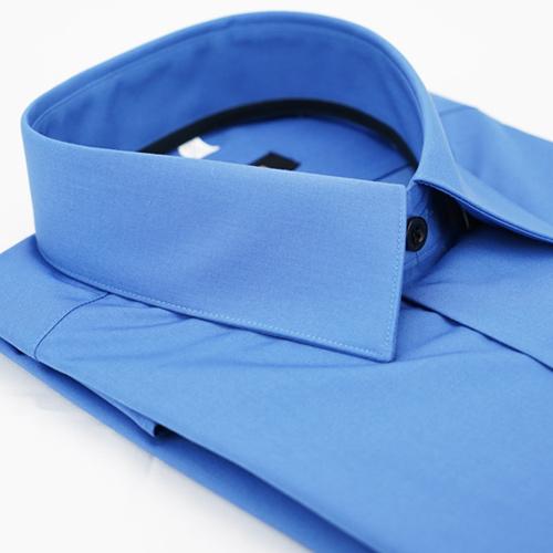 【金安德森】藍色黑內領窄版長袖襯衫