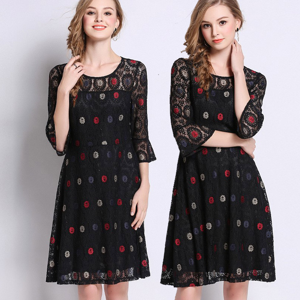 【麗質達人】6762黑色蕾絲洋裝(L-5XL)