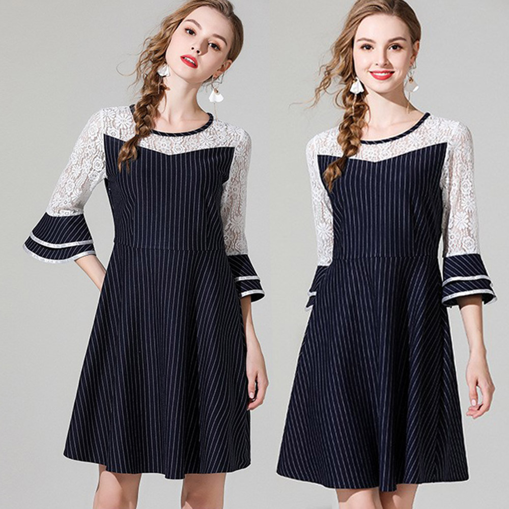 【麗質達人】9699條紋蕾絲洋裝(L-5XL)