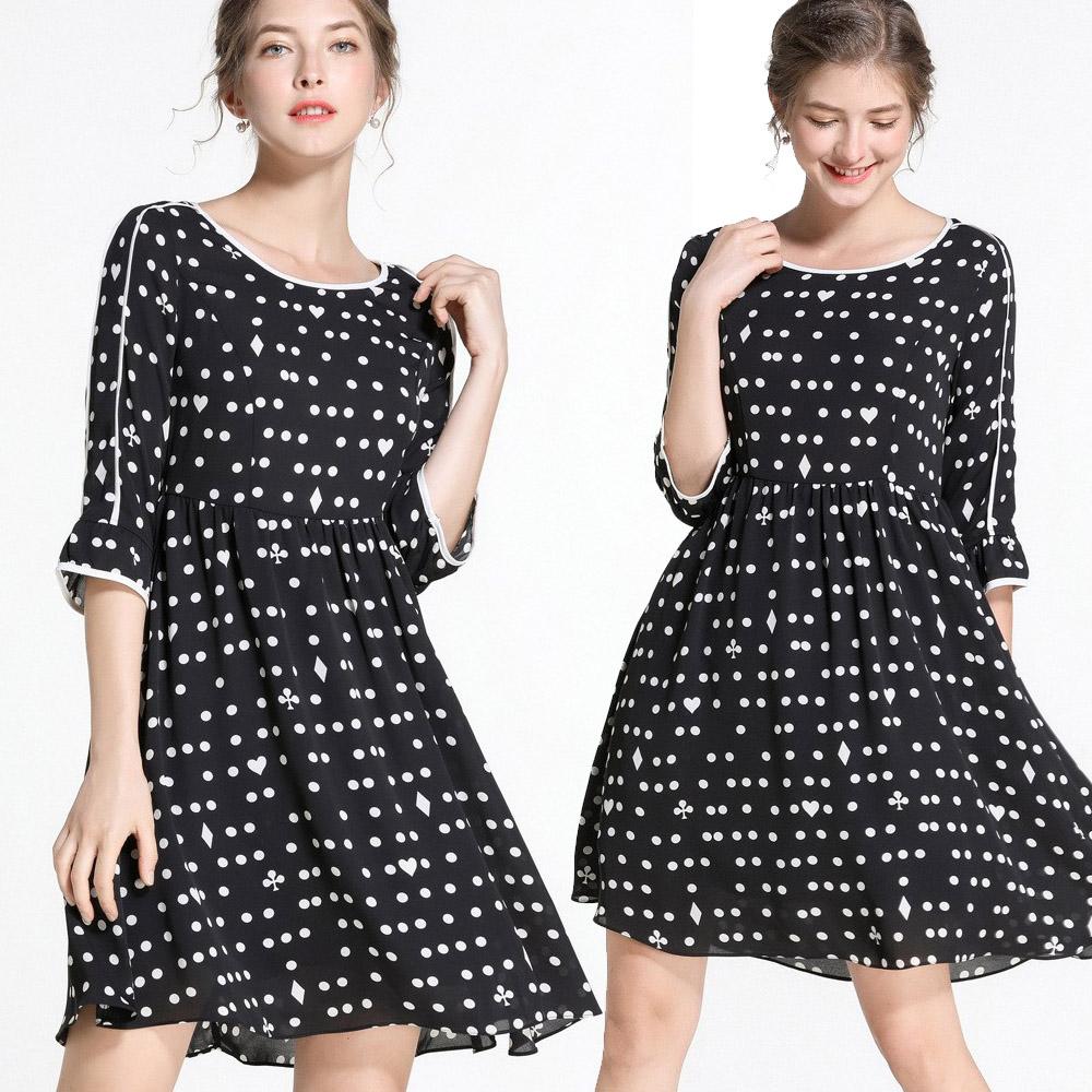 【麗質達人】79565波點七分袖洋裝(M-5XL)