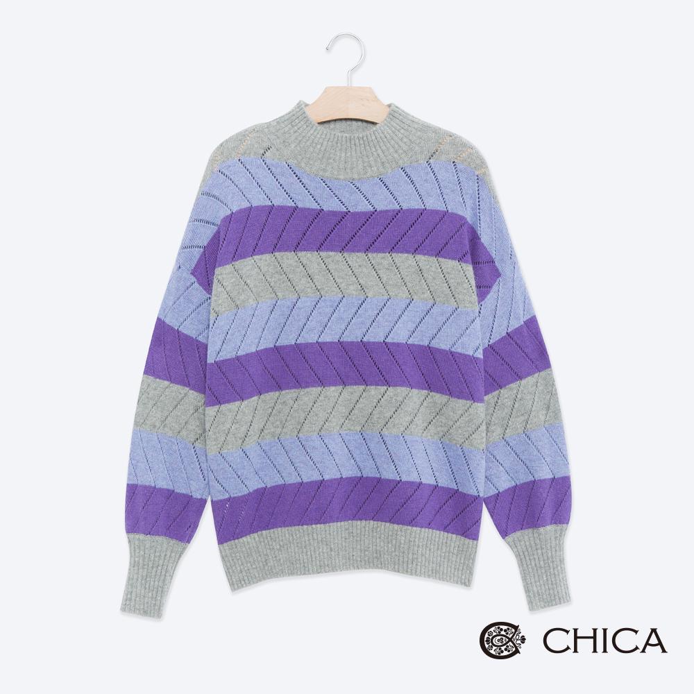 CHICA 迷幻紫國撞色條紋小高領針織衫(1色)