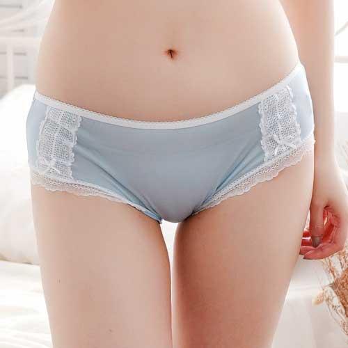 【Chlansilk闕蘭絹】粉嫩浪漫蕾絲100%蠶絲內褲-3312(藍)