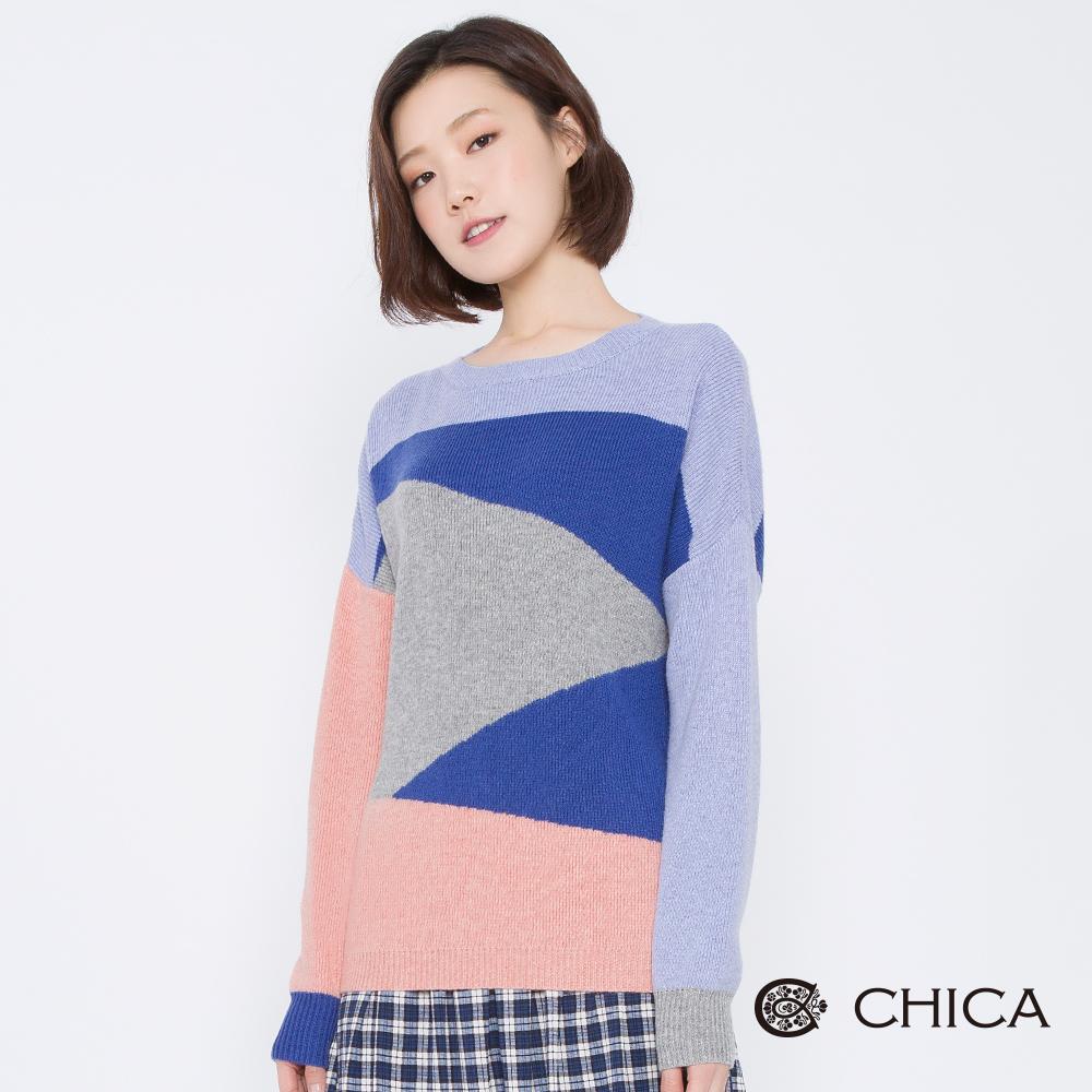CHICA 藝術拼圖不規則撞色拼接針織衫(2色)