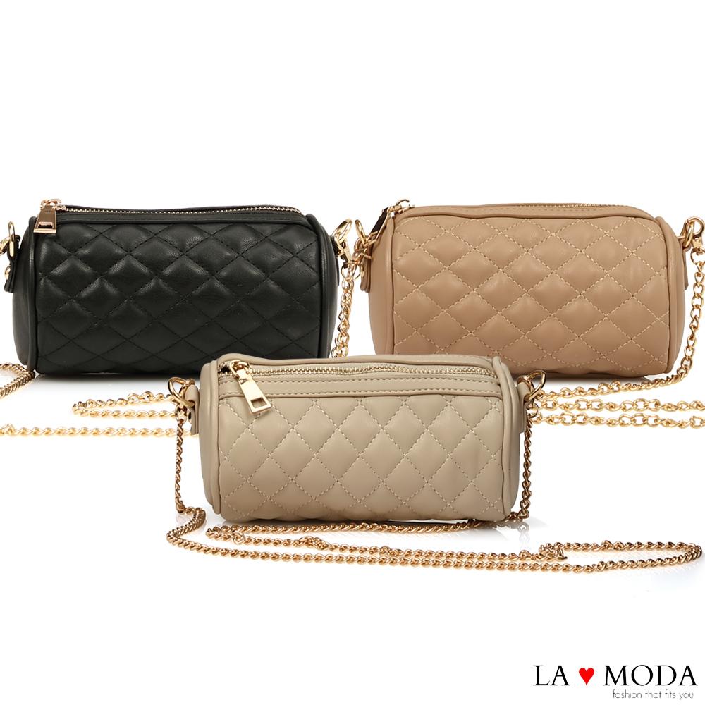 La Moda 輕巧便攜小香風菱格紋鍊條小包(共3色)