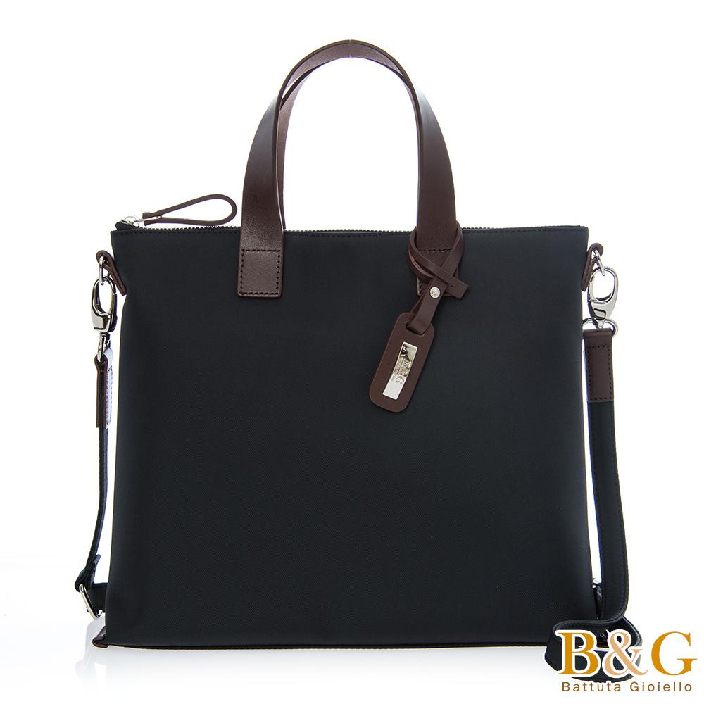 B&G 義大利皮革洗鍊極簡方形二用包(絲光黑)