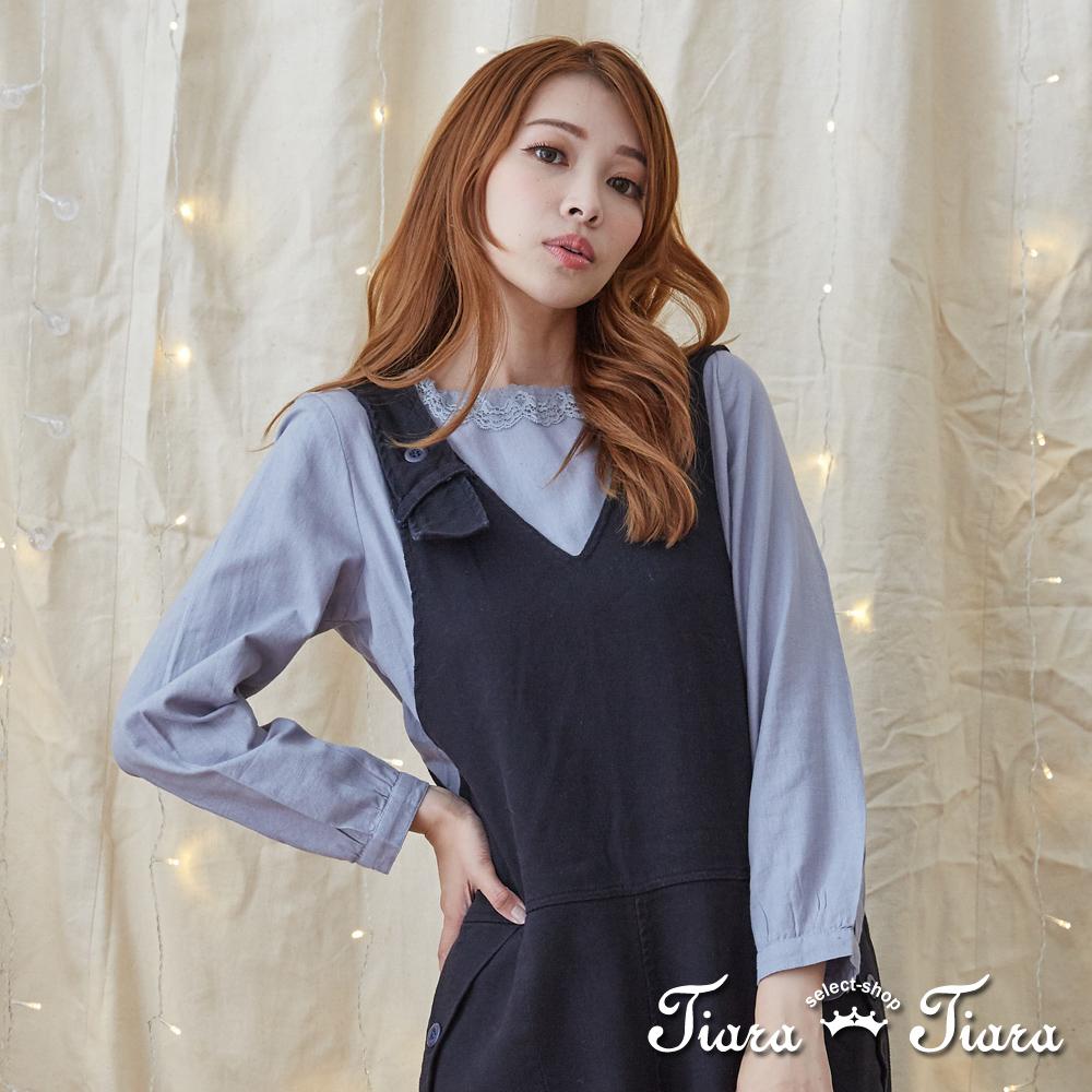 【Tiara Tiara】激安 蕾絲領襯衫長袖上衣(灰)