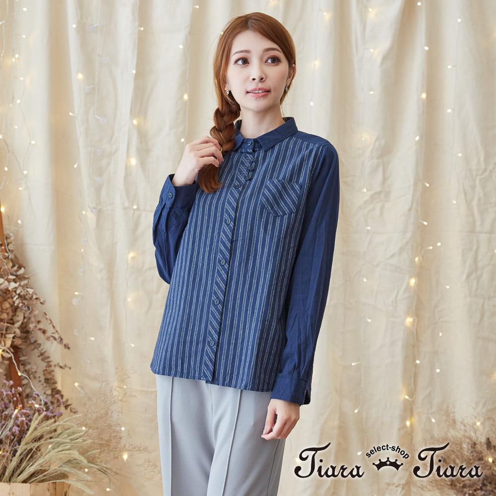 【Tiara Tiara】激安 條紋x素面拼接風襯衫長袖上衣(藏青)