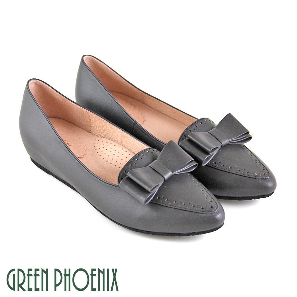 【GREEN PHOENIX】立體雙層蝴蝶結全真皮內增高尖頭娃娃鞋