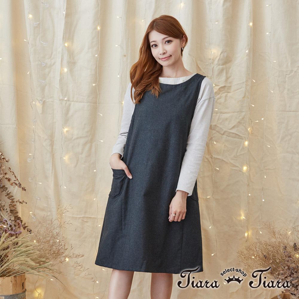 【Tiara Tiara】激安 羊毛混紡雙口袋無袖洋裝(綠/灰/棕)