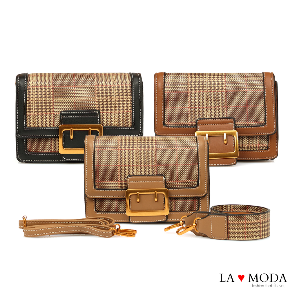 La Moda 大人氣百搭單品千鳥紋肩背斜背小方包(共3色)