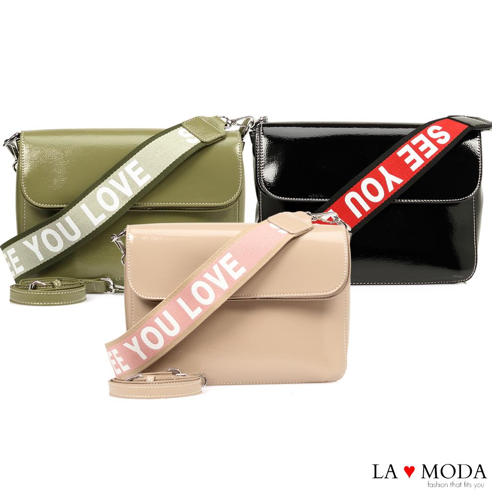 La Moda 質感品味滿分漆皮字母寬帶肩背斜背郵差包(共3色)