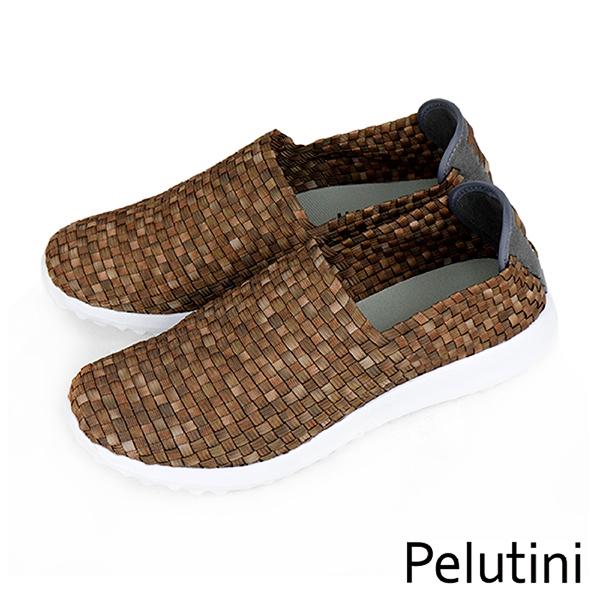 【Pelutini】時尚彈性編織休閒運動鞋  咖啡(8455-COG)
