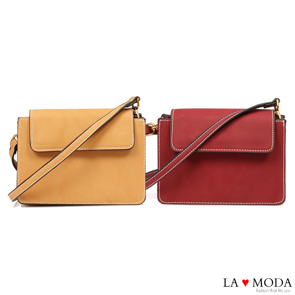 La Moda 率性輕甜出遊百搭肩背斜背小方包(共2色)