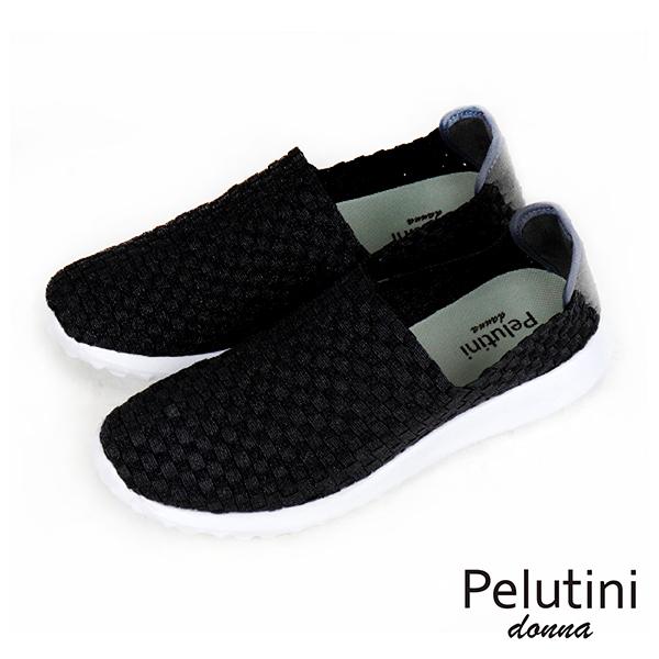 【Pelutini】donna時尚彈性編織休閒運動鞋 亮黑(8455W-BL)