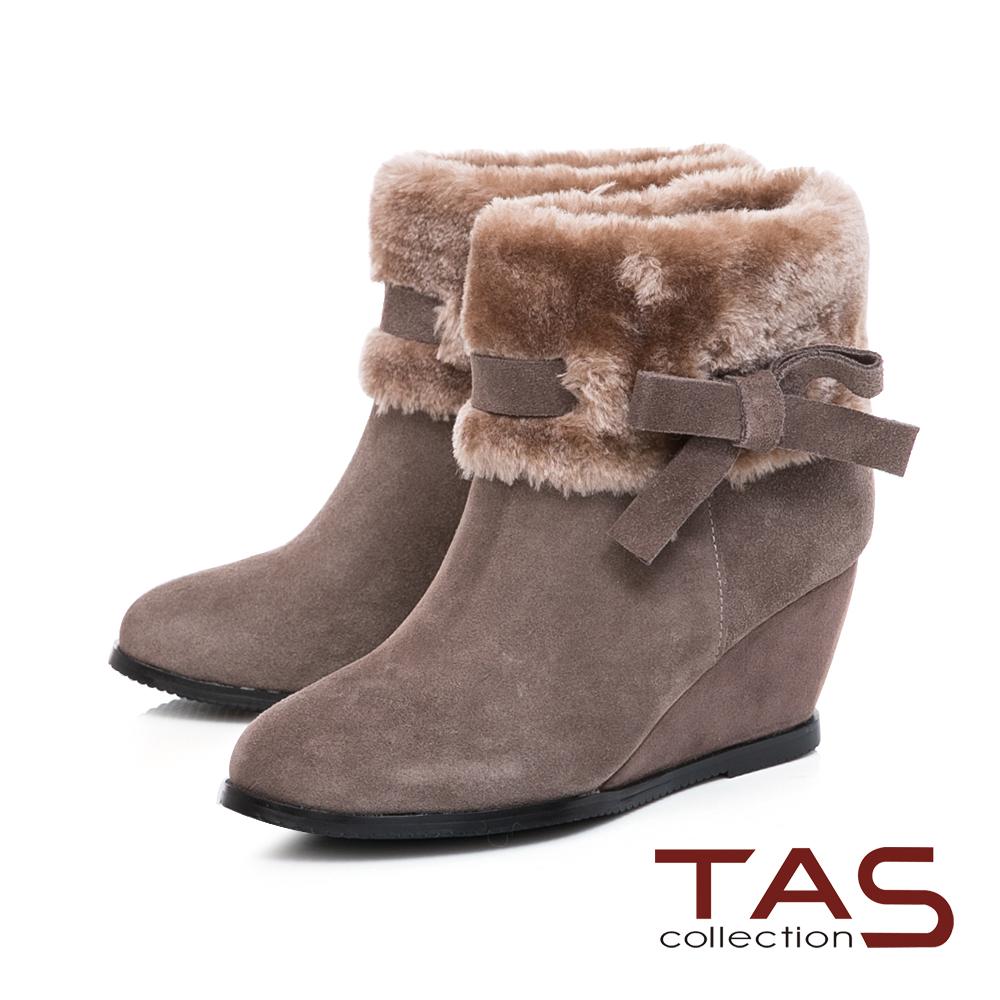 TAS毛絨反折蝴蝶結繫帶內增高短靴-迷人灰
