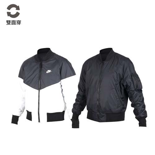 (男) NIKE 雙面棒球外套-兩面穿 長袖上衣 長袖 束口 黑白