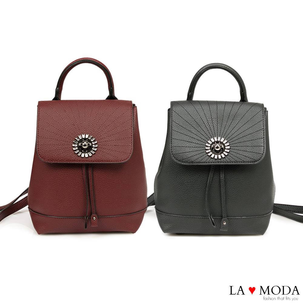 La Moda 質感滿分寶石水鑽綴飾大容量後背包(共2色)