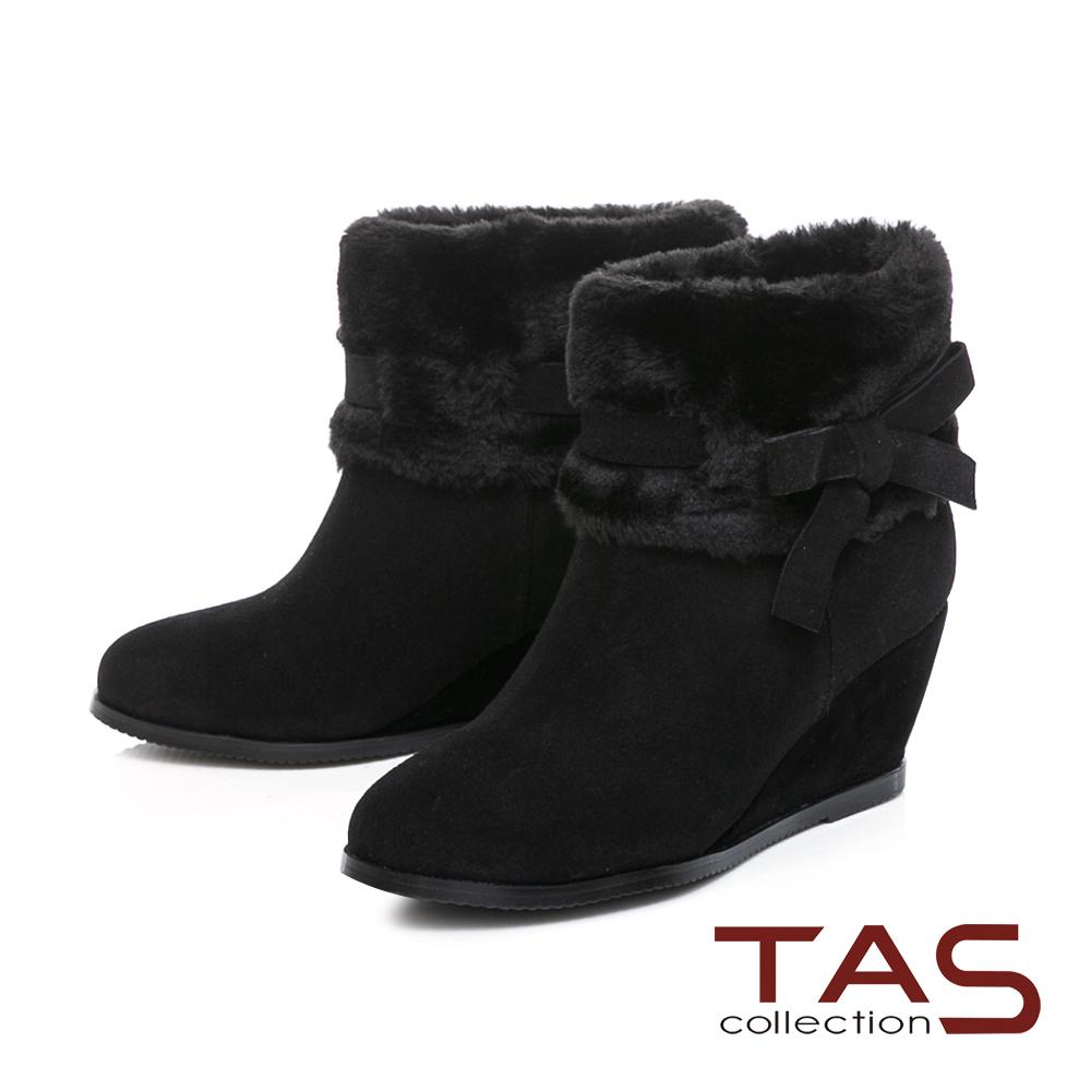 TAS毛絨反折蝴蝶結繫帶內增高短靴-百搭黑