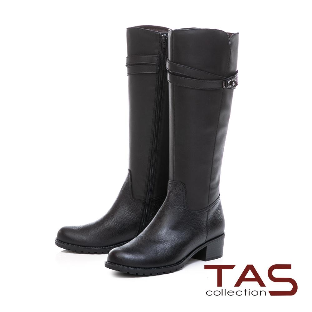 TAS交叉金屬皮帶扣素面壓紋牛皮長靴–簡約黑