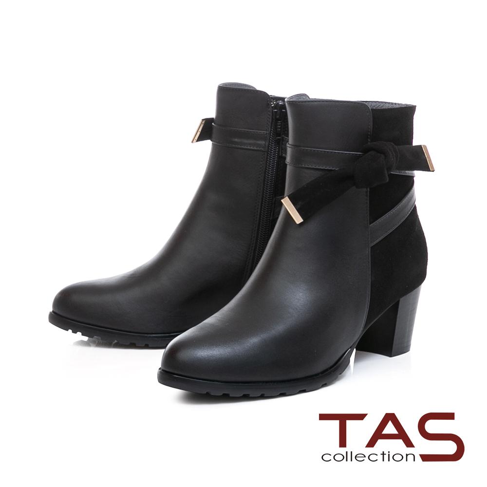 TAS蝴蝶結金屬繫帶麂皮拼接粗跟短靴–時尚黑