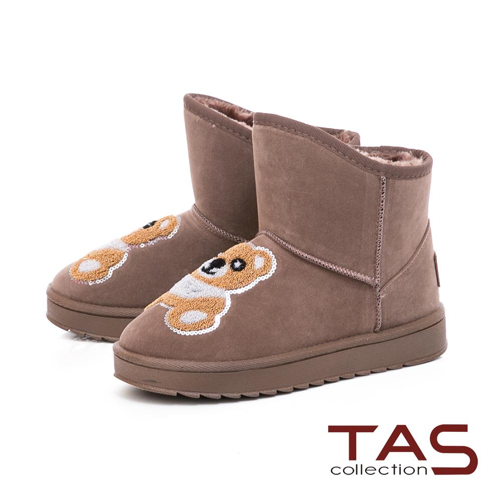 TAS立體泰迪小熊前高後低絨布雪靴-溫暖咖