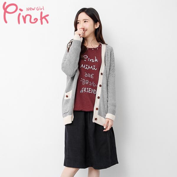 【Pink】 撞色針織外套(灰色) G5413AD