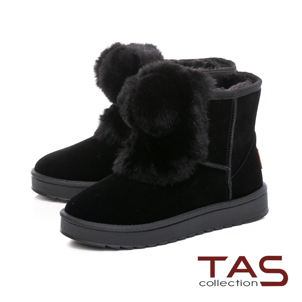 TAS大圓毛球造型素面絨布雪靴-實搭黑