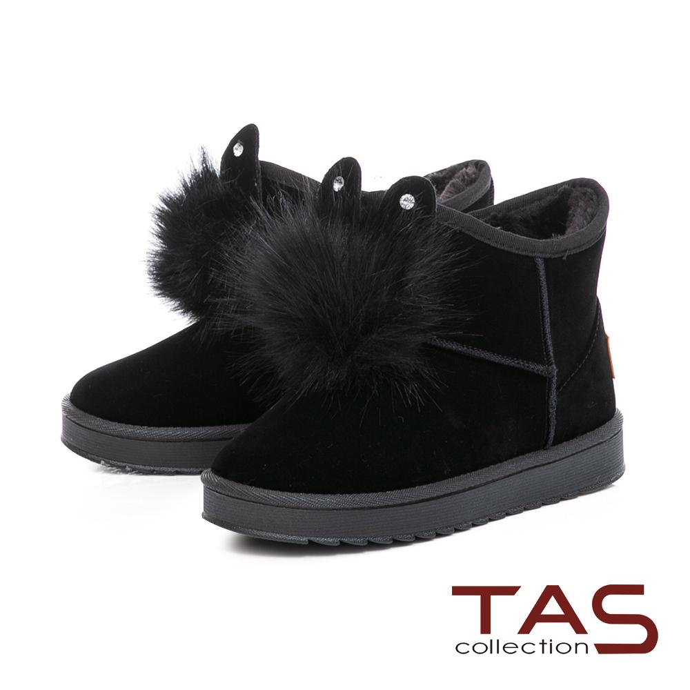 TAS兔耳造型水鑽毛球絨布雪靴-冬季黑